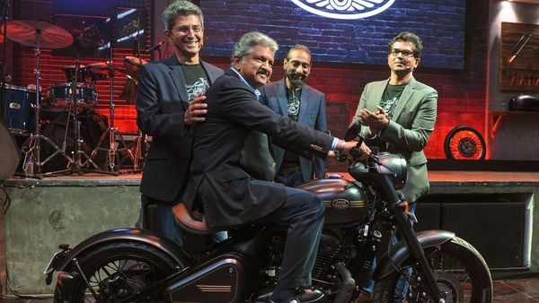 Mahindra Group Chairman Anand Mahindra launches the new bike Jawa Perak in Mumbai, (PTI Photo)