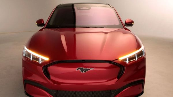 Ford Motor Co. showcases the all-new electric Mustang Mach-E vehicle for a photo shoot at a studio in Warren, Michigan, US. (Reuters)