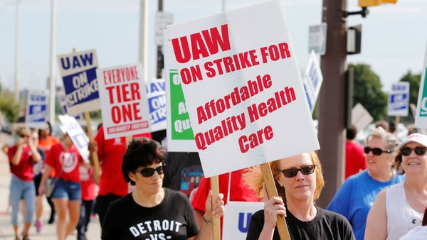 FILE PHOTO: Striking General Motors Detroit-Hamtramck Assembly plant workers and their supporters walk the picket line during the United Auto Workers (UAW) national strike in Hamtramck, Michigan, U.S. (Reuters)