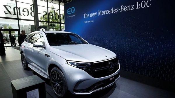 A Mercedes-Benz EQC car is pictured in Frankfurt. (REUTERS)