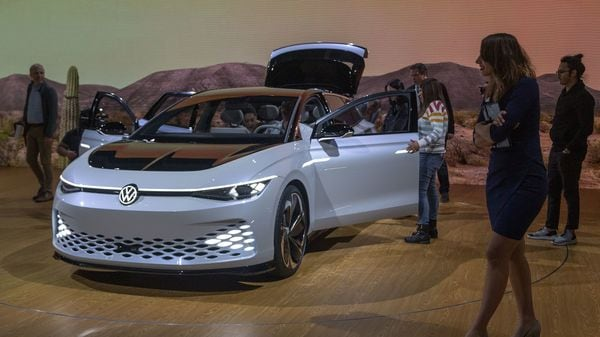 The Volkswagon I.D. Space Vizzion is shown at LA Auto Expo. (AFP)