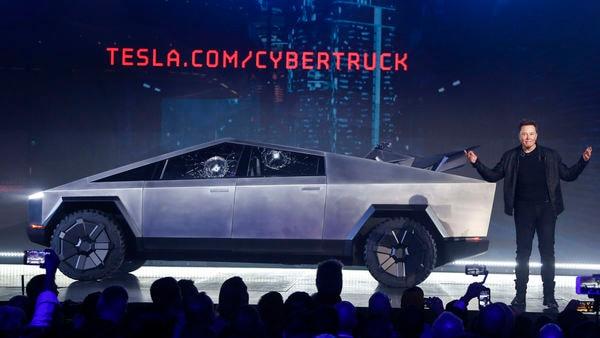 Tesla CEO Elon Musk introduces the Cybertruck at Tesla's design studio in Hawthorne, California. (AP)