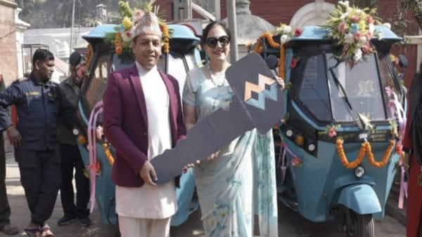 Namrita Puri, president of Indian Women's Association (IWA) hands over two electric vehicles to Pashupati Area Development Trust (PADT) (ANI)