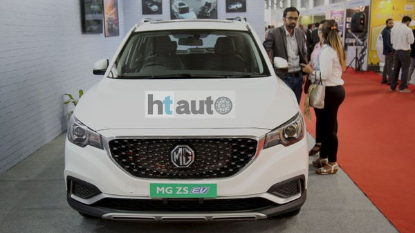 MG Motor displayed its electric SUV ZS EV at theNuGen Mobility Summit in Manesar, Haryana on Wednesday.