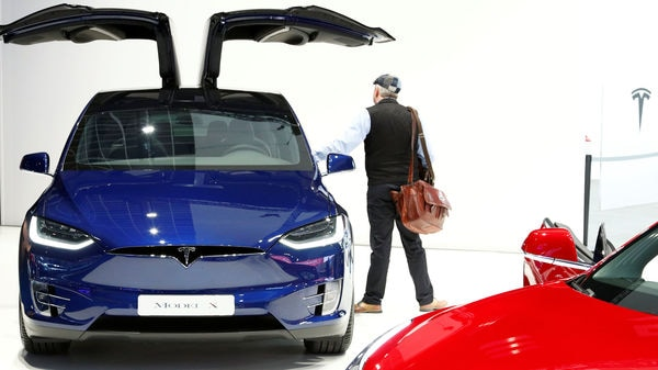 A Tesla Model X electric vehicle at Brussels Motor Show. (Reuters)
