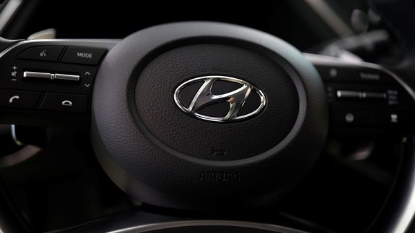 File Photo: The logo of Hyundai Motors is seen on a steering wheel of a all-new Sonata sedan.