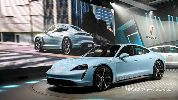 File photo: Porsche introduces its new Taycan 4S at the LA Auto Show in November, 2019 (REUTERS)