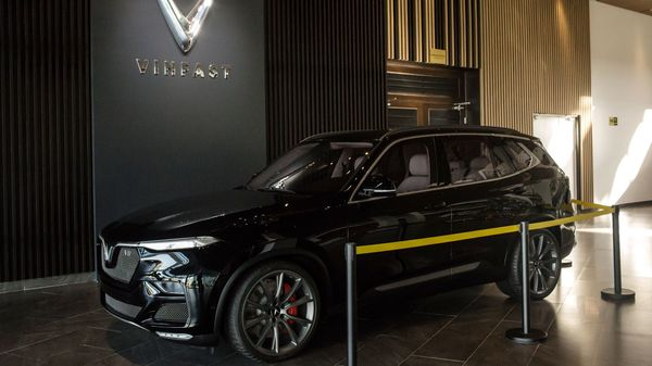 A prototype of the Vinfast Lux V8 sports utility vehicle (SUV) sits on display at the automaker's factory in Haiphong, Vietnam. (Bloomberg)