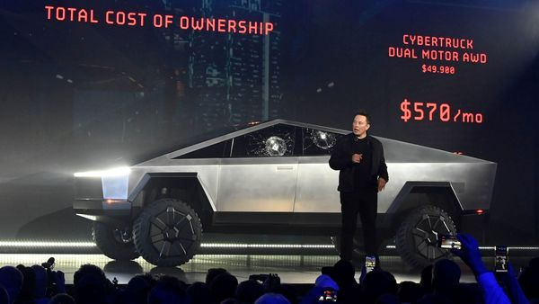 File photo: Tesla CEO Elon Musk unveils the Cybertruck (Reuters)