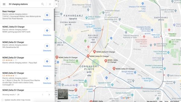 Google adds filter for EV charging stations