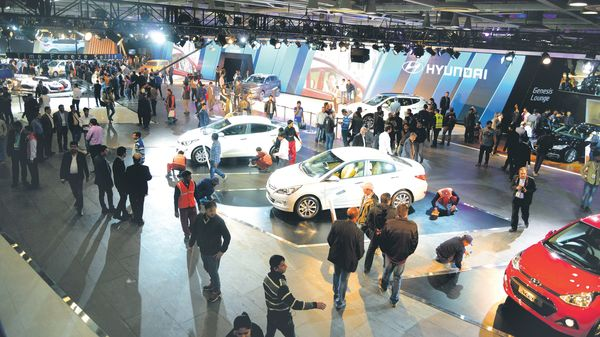 A file photo of an auto expo in Greater Noida. Considering the government's push for green mobility, manufacturers this time around are expected to showcase a slew of electric and hybrid vehicles, and related concepts at the event.ramesh pathania/mint (MINT_PRINT)