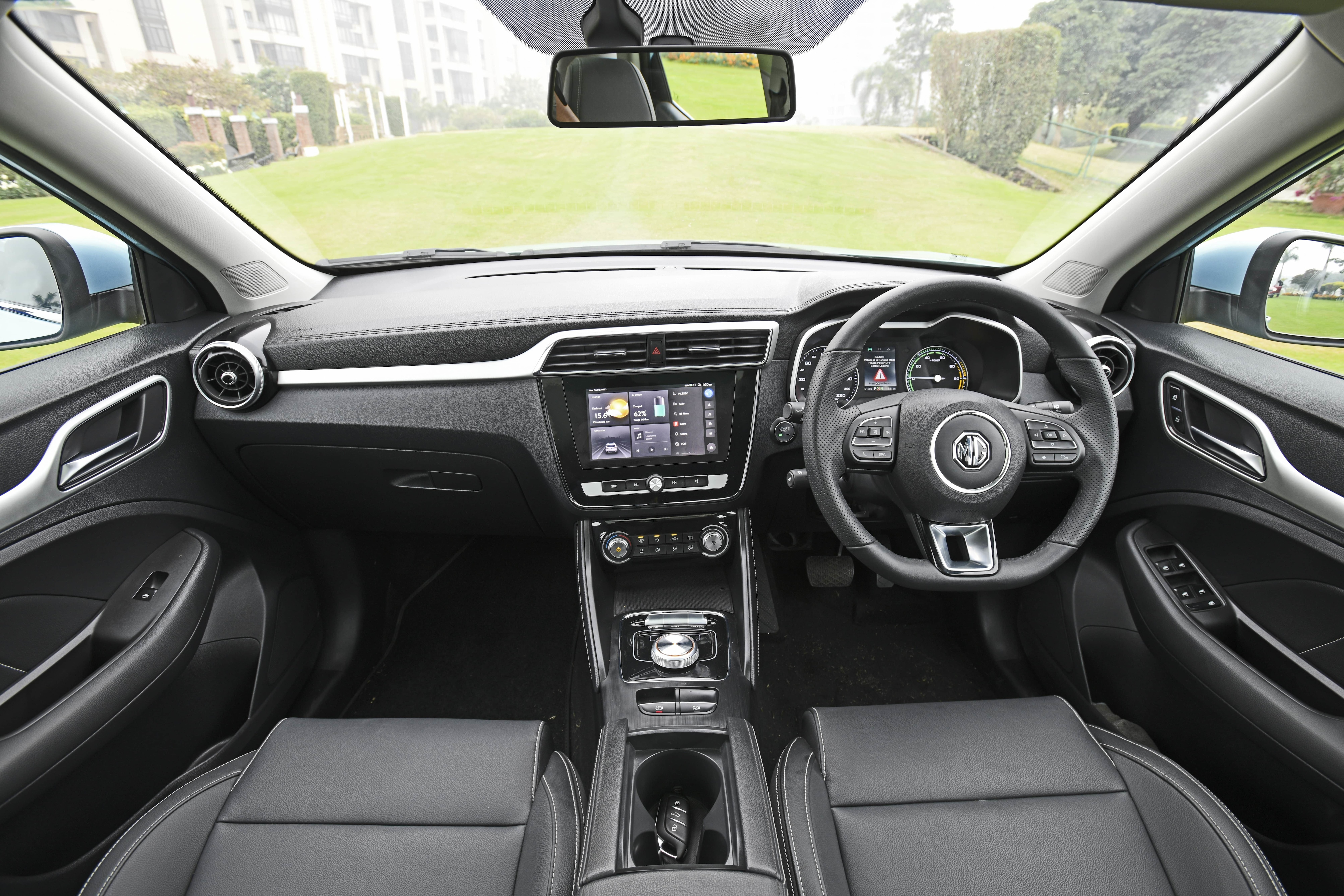 The interiors of the MG ZS is quite premium with chrome insets used smartly, soft-touch plastics on the upper dash, leather-wrapped steering wheel and a 20.32 cm touchscreen.