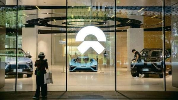Vehicles of electric carmaker NIO Inc. on display inside the NIO House showroom at the Shanghai Tower in Shanghai, China (Bloomberg)