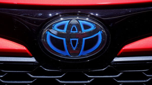 FILE PHOTO: The logo of Toyota is seen during the first press day of the Paris auto show, in Paris, France, October 2, 2018. REUTERS/Regis Duvignau