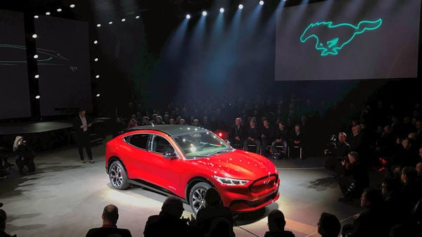 An electric Mustang Mach-E car is displayed during its launch in Oslo, Norway November 18, 2019. Picture taken November 18, 2019. REUTERS/Lefteris Karagiannopoulos