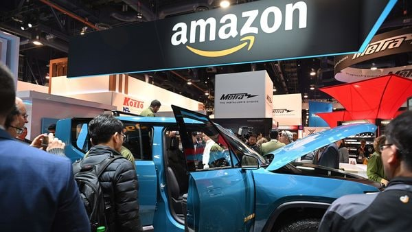 Amazon booth at CES 2020. (AFP)