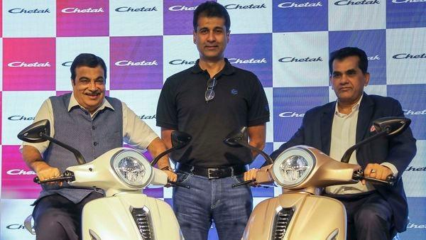 File photo: Union Road Transport and Highway Minister Nitin Gadkari, Managing Director of Bajaj Auto Rajiv Bajaj, and NITI Aayog CEO Amitabh Kant unveil the all-new Bajaj Chetak Electric Vehicle, in New Delhi. (PTI)