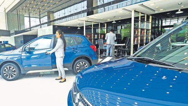 The economic slowdown, increased competition, and the launch of new products have weighed on sales at Nexa showrooms. ramesh pathania/mint