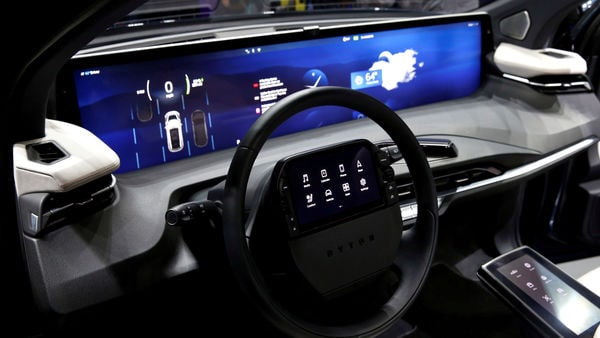 FILE PHOTO: An interior view of the Byton M-Byte all-electric SUV, expected to enter mass production this year, is shown at a news conference during the 2020 CES in Las Vegas, Nevada, U.S. January 5, 2020. REUTERS/Steve Marcus