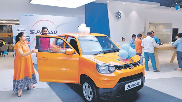 Maruti's S-Presso—a hatchback crossover—offers more prominent exterior styling and cabin space.ramesh pathania/mint