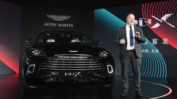 Aston Martin CEO Andy Palmer speaks at the world premiere of the Aston Martin DBX SUV in Beijing on November 20, 2019. - Aston Martin launched its first ever SUV in the Chinese capital on November 20. (Photo by GREG BAKER / AFP) (AFP)