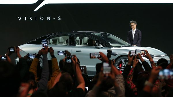Sony President and CEO Kenichiro Yoshida unveils the Vision-S electric concept car during a press event for CES 2020 at the Las Vegas Convention Center. (AFP)