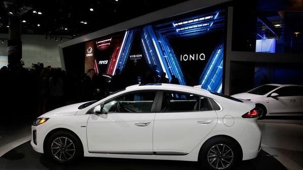 The Hyundai Ioniq electric car is shown at the Automobility LA Auto Show on Wednesday, November 20, 2019 in Los Angeles. (Marcio Jose Sanchez / AP)