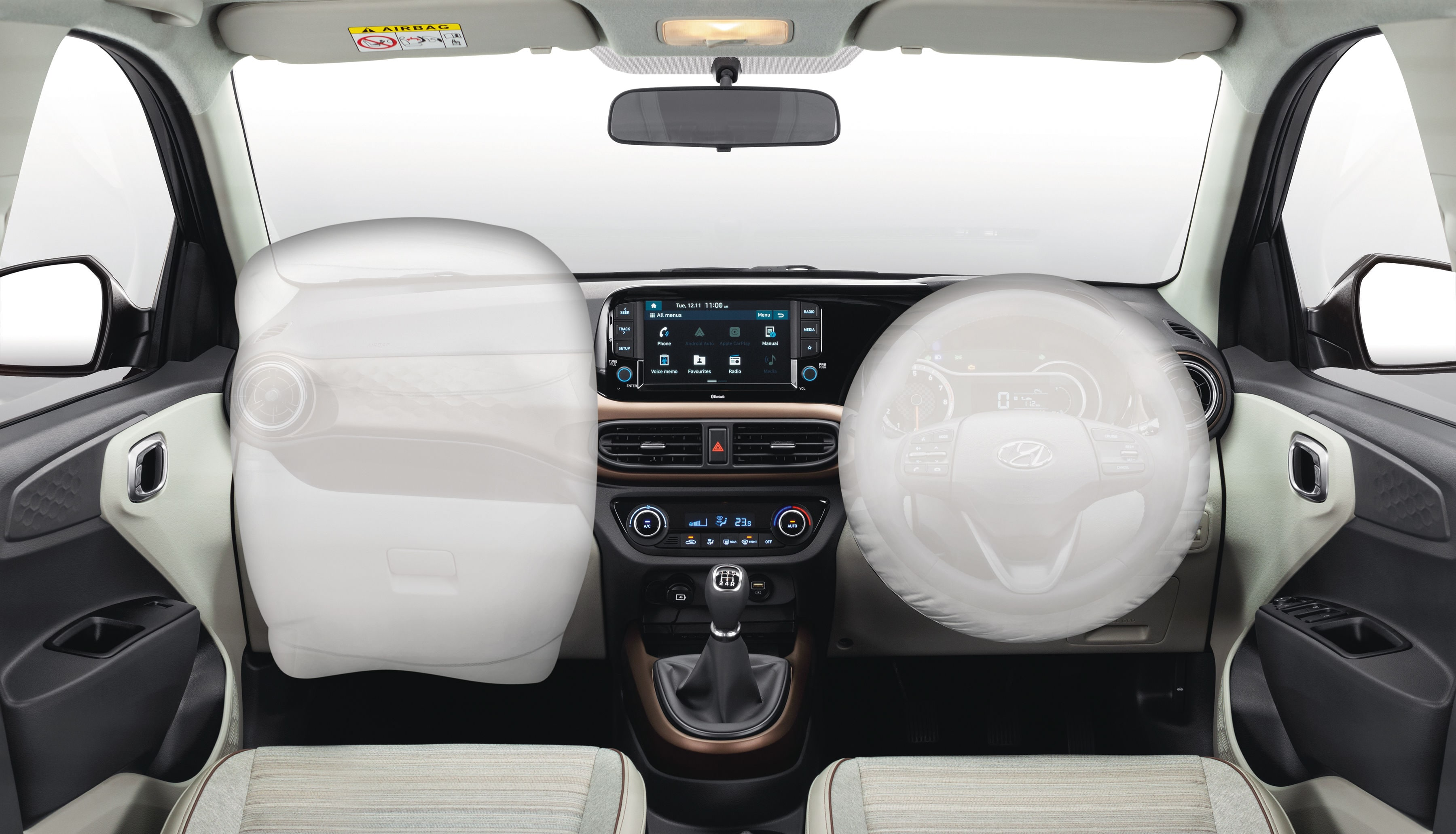 Front dual airbags and ABS with EBD come as standard on the Aura.