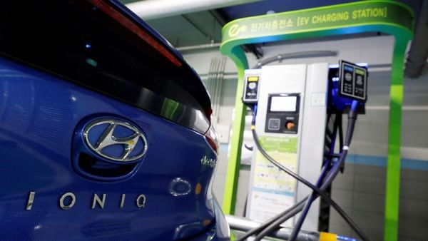 FILE PHOTO: A Hyundai Motor's electric car IONIQ is charged at a electric charging station