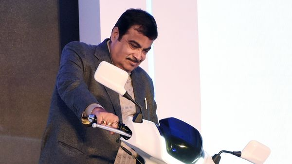 Union Minister for Road Transport and Highways of India and Micro, Small and Medium Enterprises Nitin Gadkari during the launch of the electric scooter TVS Qube Electric in Bengaluru on Saturday. (ANI Photo)