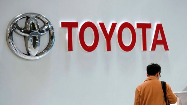 (FILES) In this file photo taken on February 06, 2019 The logo of Toyota Motor is displayed at a company's car showroom in Tokyo. - Toyota on January 17, 2020 said it was moving assembly operations for its popular Tacoma pickups from the United States to Mexico but pledged that no US jobs would be affected. The announcement came a day after the US Senate approved the new US-Mexico Canada Agreement on trade, which importantly revamps the rules for manufacturing and cross-border trade in autos. (Photo by Kazuhiro NOGI / AFP) (AFP)