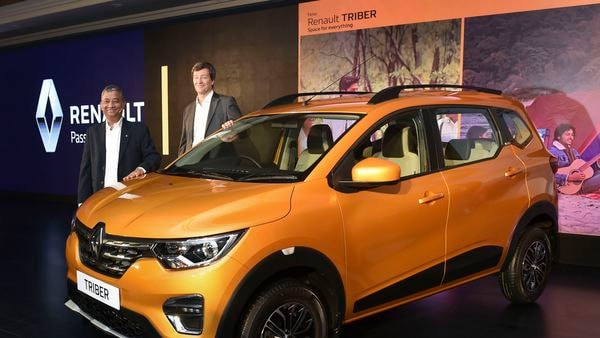 File photo: Renault India CEO & MD Venkatram Mamillapalle (L) and VP-Sales & Marketing Thomas Dubruel during the launch of the company's all new car 'TRIBER', in New Delhi, Wednesday, Aug 28, 2019. (PTI Photo/ Shahbaz Khan) (PTI)
