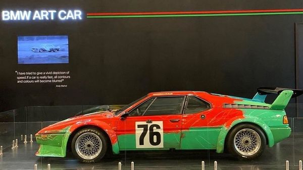 Photo of 1979 BMW M1 Group 4 Race version painted by the renowned American pop artist, Andy Warhol. The art depicts the speed of the car with its vibrant brushstrokes and leaves you open for interpretation. (Photo courtesy: Twitter/@bmwindia)