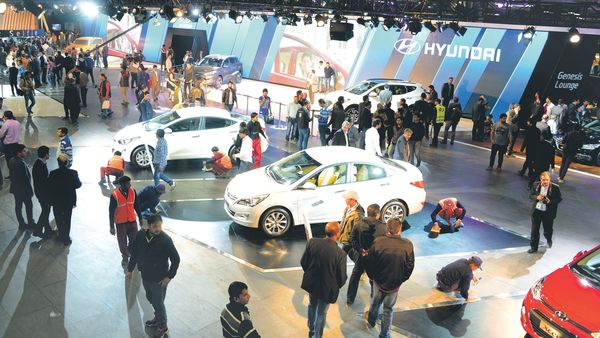 A file photo of an auto expo in Greater Noida. (Ramesh Pathania/Mint)