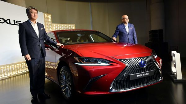 President Lexus India, PB Venugopal (L) and General Manager, Lexus international Co (R) during the launch of Lexus LC 500h, in New Delhi, on Friday. (ANI Photo)