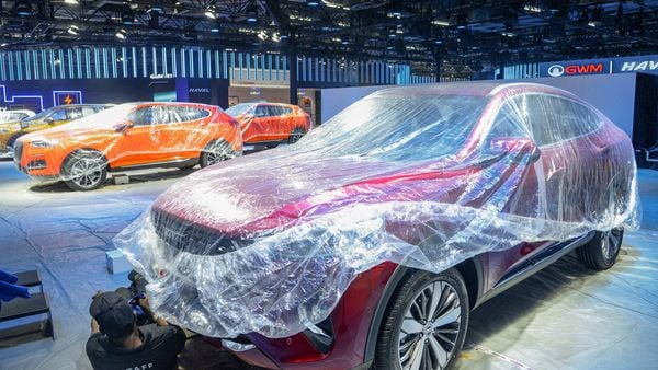 A view of the cars set to be displayed during the Auto Expo 2020, at Greater Noida, (PTI)