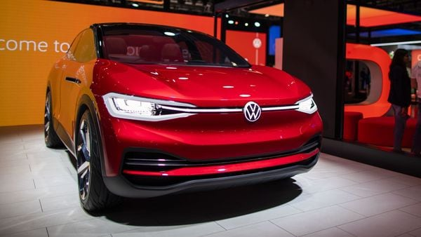 A Volkswagen AG (VW) I.D. Crozz electric sports utility facility (SUV) sits on display at the Auto Expo 2020. (Bloomberg)