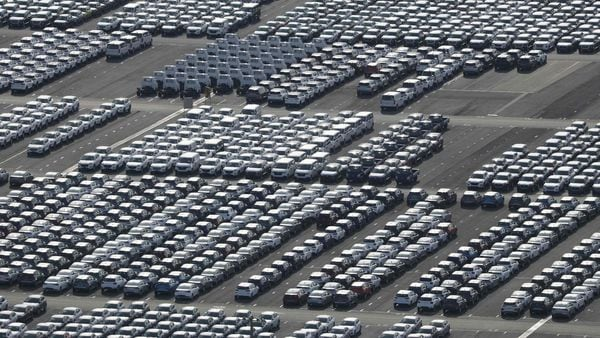File photo of Hyundai Motor cars parked for shipping in the southeastern port of Ulsan. (AFP)