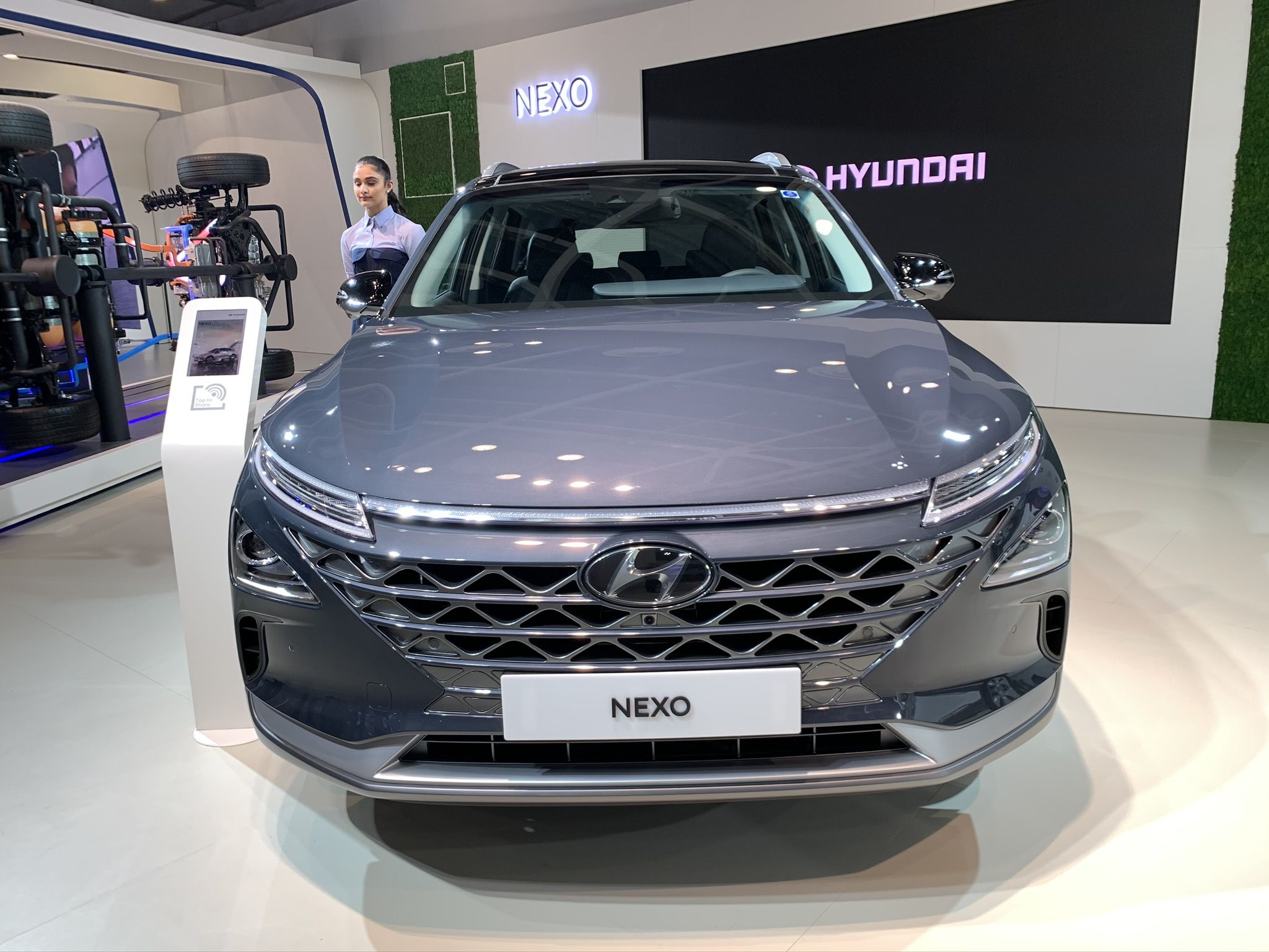 Hyundai Nexo: The South Korean carmaker displayed Nexo, its Hydrogen fuel cell electric vehicle at Auto Expo 2020. It is company's way of presenting an alternate technology for cleaner vehicles in the future. Hyundai said the Nexo filters air while driving, and the only byproduct is water.