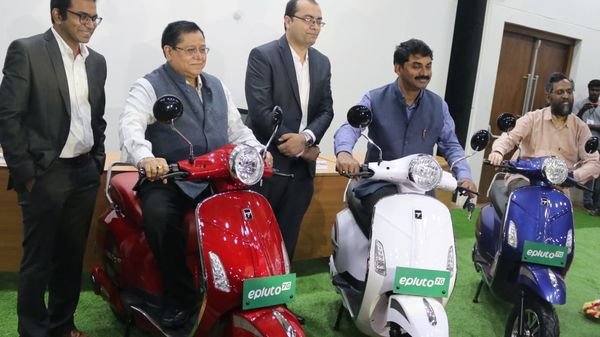 Photo of Pure EV launching EPluto 7G electric scooters (Photo courtesy: Twitter/@IITHyderabad)