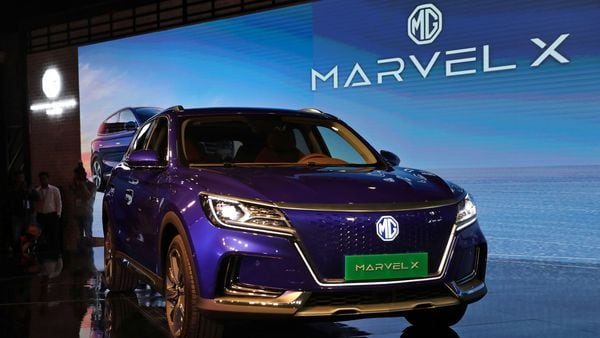 MG's Marvel X electric SUV on display after it was unveiled at the India Auto Expo 2020. (REUTERS)