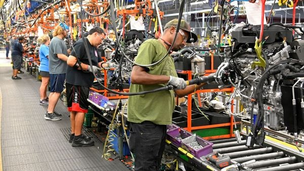FILE PHOTO: Engines assembled as they make their way through the assembly line at the General Motors (GM) manufacturing plant in Spring Hill, Tennessee, U.S. August 22, 2019. REUTERS/Harrison McClary/File Photo (REUTERS)