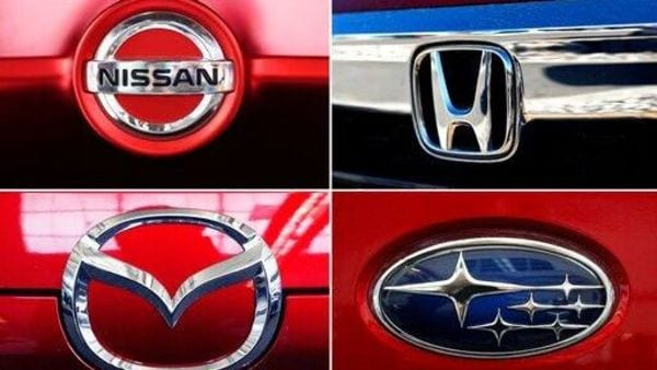 This undated combination of photos shows clockwise from top left the logos for Nissan, Honda, Mazda and Subaru. Sixty-four cars and SUVs sold in the U.S. earned Top Safety Pick awards from the Insurance Institute for Highway Safety. Those with a Top Safety Pick Plus rating are the Honda Insight, Mazda 3 sedan and hatchback, Subaru Crosstrek Hybrid, Mazda 6, Nissan Maxima, Subaru Legacy, the Subaru Outback built after October of last year, and the Toyota Camry. (AP Photos) (AP)