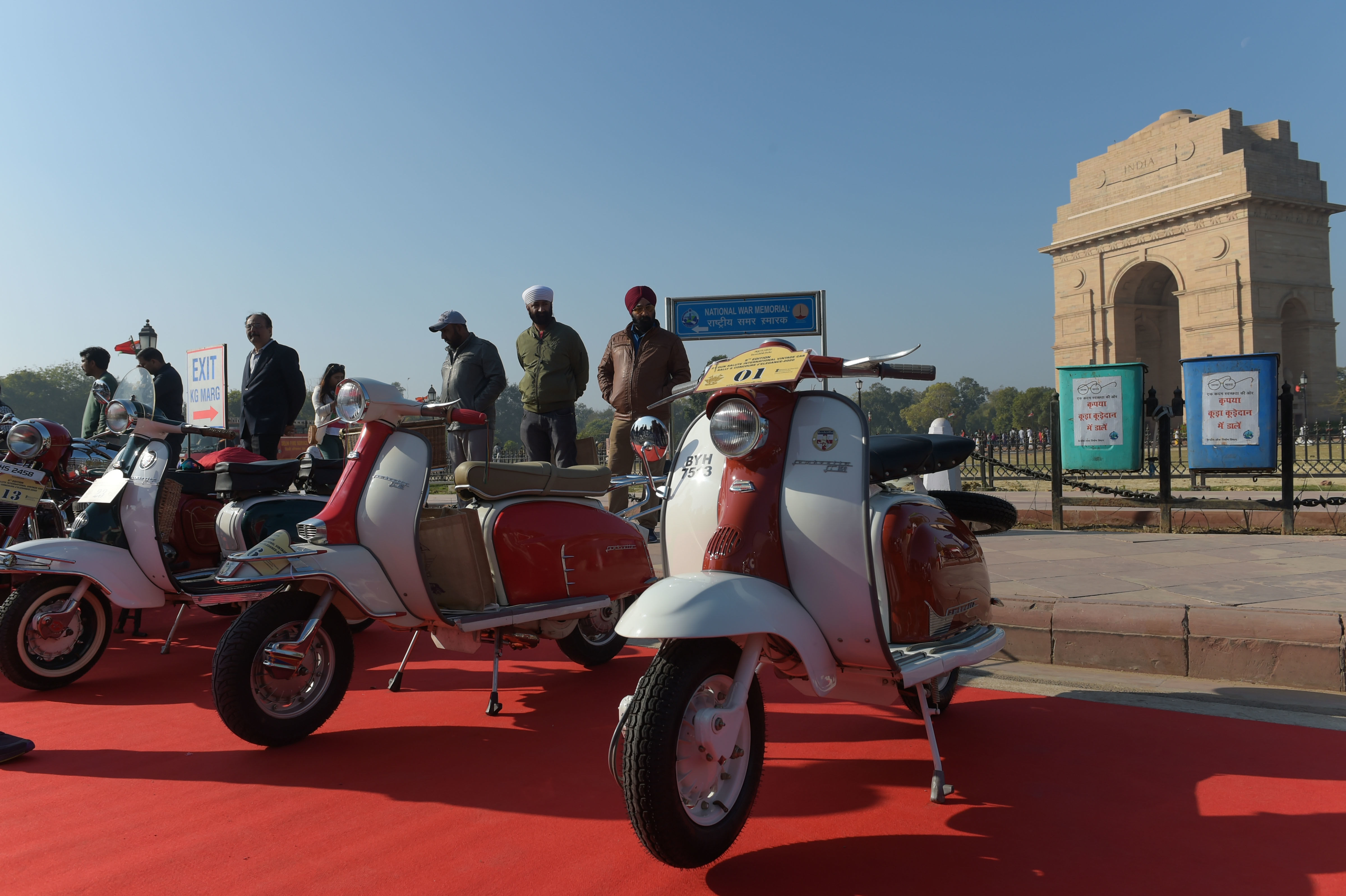 New Delhi: Vintage Lambretta scooters put on display during the 21 Gun Salute International Vintage Car Rally at India Gate, in New Delhi, Saturday, Feb 15, 2020. (PTI Photo/Vijay Verma) (PTI)