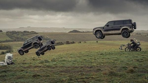 Screengrab from the video of Land Rover Defender performing stunt in the new James Bond film