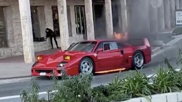 The Ferrari F40 engulfed in fire on the streets of Monaco. (Photo courtesy: Twitter)
