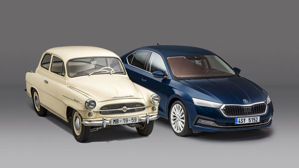 The first generation and the fourth generation Skoda Octavia in one frame
