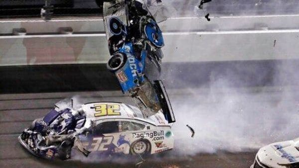 Ryan Newman (6) goes airborne after crashing into Corey LaJoie (32) during the NASCAR Daytona 500 auto race Monday, Feb. 17, 2020, at Daytona International Speedway in Daytona Beach, Fla. Newman did not suffer life-threatening injuries in the incident. (AP)