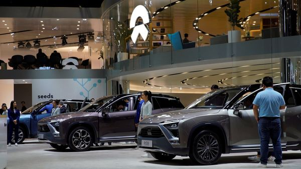 NIO ES8 electric SUVs are seen displayed at the Shanghai auto show. (REUTERS)
