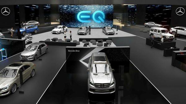 An illustration of the Mercedes-Benz pavilion at Geneva Motor Show